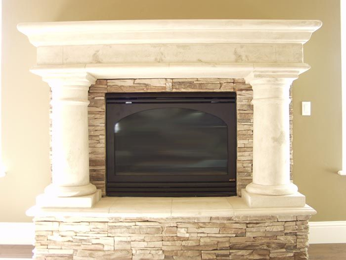 Faux stone fireplace mantel shelf