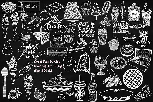 Chalk Sweet Food Doodles Clipart Food Doodles Clip Art Doodles