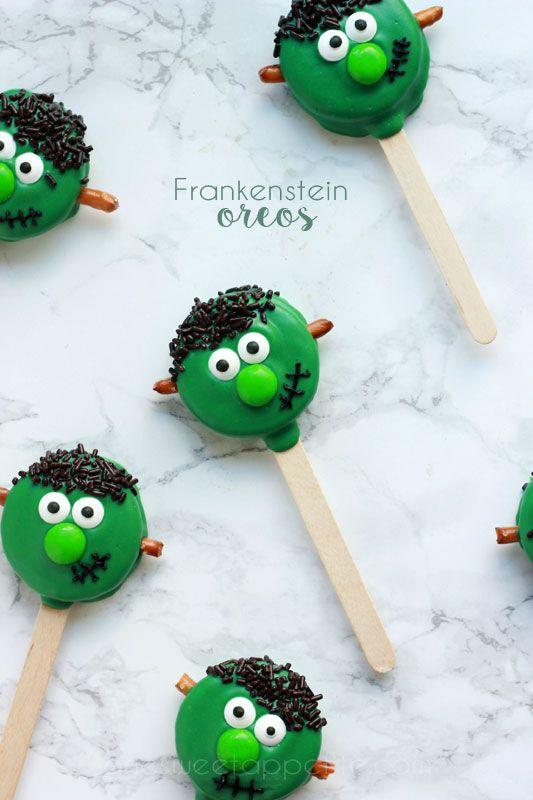 Frankenstein Oreo Pops. Cutest little Halloween treat ever.