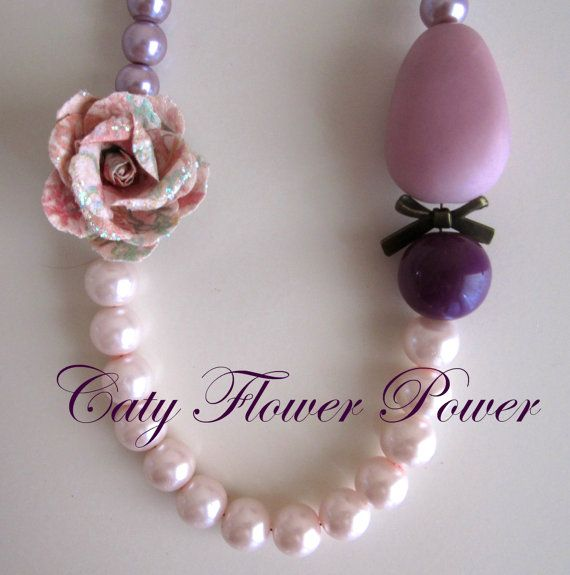 Pink Pearl Necklace Flower Necklace Bridesmaids by catyflowerpower