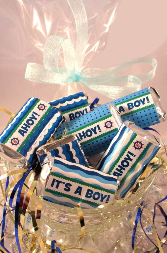 DIY PRINTABLE Ahoy Its A Boy Nautical Baby Shower Blue Candy Wrappers via Etsy