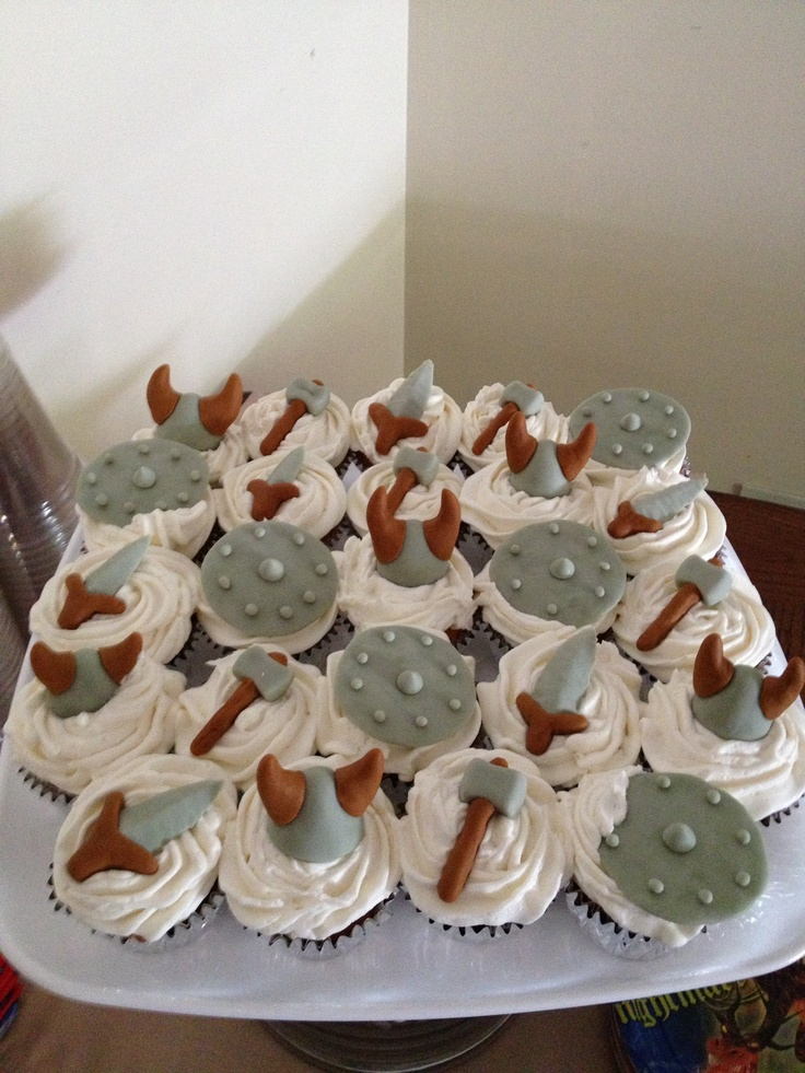 How To Train A Dragon Viking Cupcakes Birthday Cake And