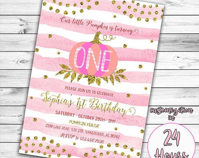 Little Pumpkin Invitation, First Birthday Invitation, Girl First Birthday Invitation, Pink Pumpkin Invitation, Gold and Pink Invitation