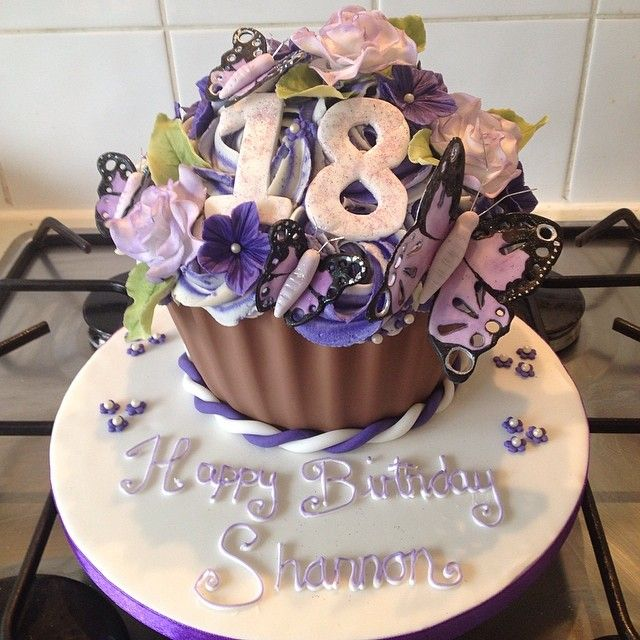 Purple Themed Birthday Cupcake