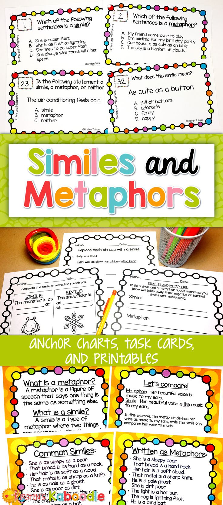 Are you looking for an engaging way to teach your students about similes, metaphors, and other figurative language? With anchor charts, task cards, and printables, these easy to use similes and metaphors activities and lessons can be implemented in any 3rd-6th grade classroom! Don't forget to check out the other 7 figurative language lessons in this series!