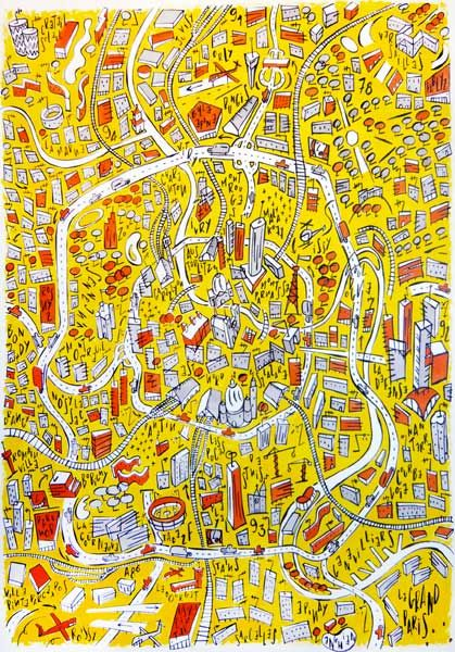 Philippe Doro : Le Grand Paris. Map of Paris illustration. Color version.