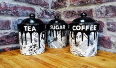 Bug tea canisters, coffee storage pot, sugar canister, flour tub, utility kitchen item. gothic gift, spider beetle fly, dragonfly ladybird by WWCeramicsUK on Etsy https://www.etsy.com/uk/listing/532399383/bug-tea-canisters-coffee-storage-pot