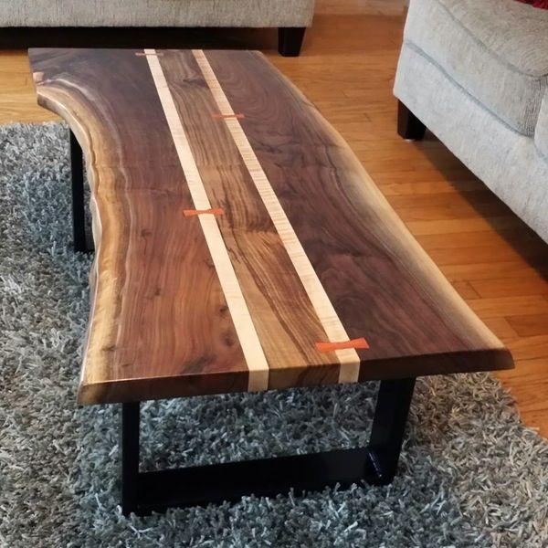 Elegant Walnut Live Edge Coffee Table   K. Heaton Design