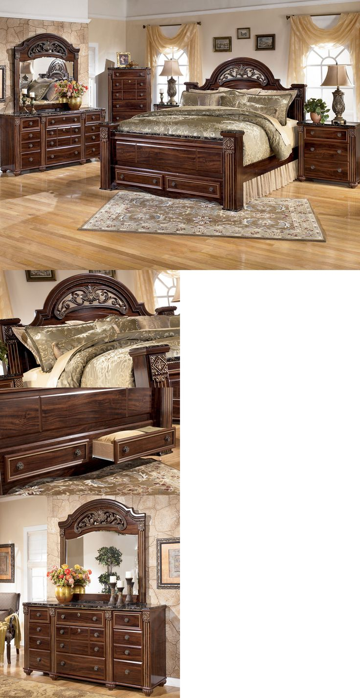 Maribel 3 pc bedroom dresser mirror amp queen full panel headboard - Bedroom Sets 20480 Ashley Furniture B347 Gabriela Queen King Poster Storage Bed Frame Bedroom