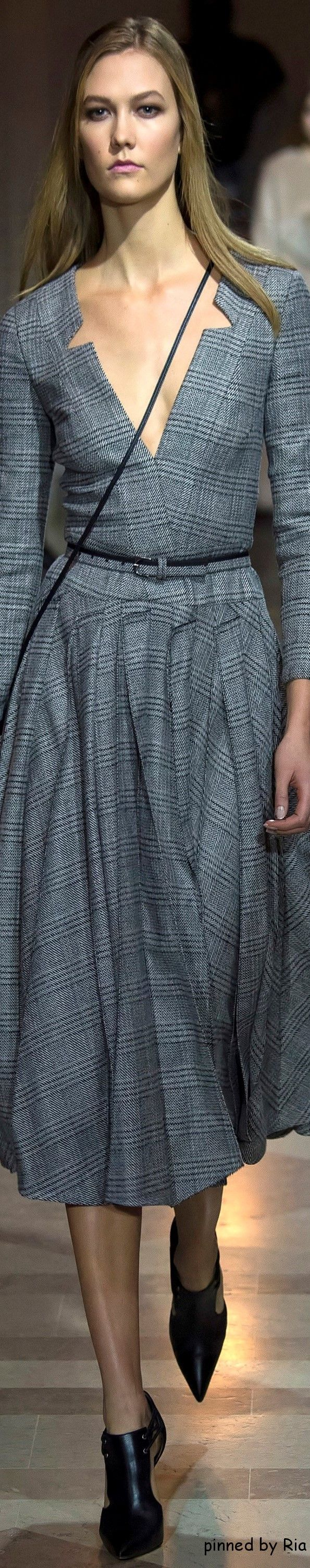 Carolina Herrera Fall 2016 RTW l gray dress women fashion outfit clothing style apparel @roressclothes closet ideas