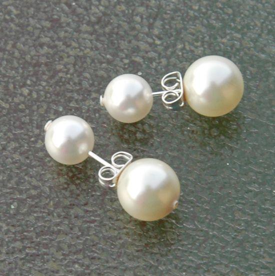 Selber einfach #doppel-Perlen-Ohrringe machen, mit Wachsperlen oder Swarovski Perlen.