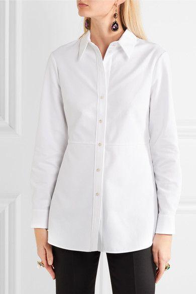 Alexander McQueen - Ruffled Cotton-piqué Shirt - White - IT48