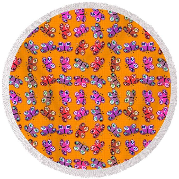 Pink orange decorative design with butterflies #round #beach #towel #pattern #animal