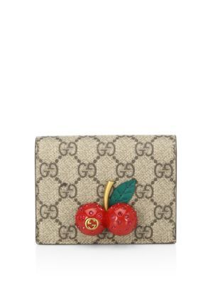 3700f1403f3 GUCCI Cherry-Embellished Gg Supreme Canvas Wallet.  gucci  wallet ...