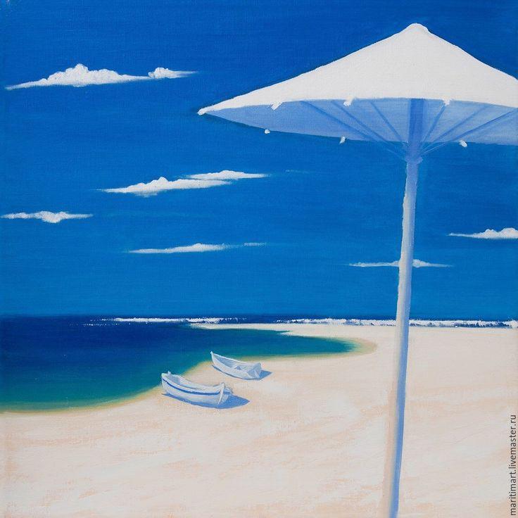 Купить Картина маслом. Пляж - картина для интерьера, картина на холсте…
