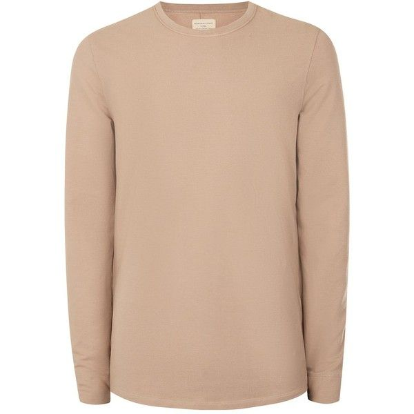 TOPMAN Selected Homme Dusty Pink Exposed Seam Long Sleeve T-Shirt (£35) ❤ liked on Polyvore featuring men's fashion, men's clothing, men's shirts, men's t-shirts, pink, mens long sleeve shirts, mens pink shirts, mens cotton shirts, mens cotton t shirts and mens long sleeve cotton shirts