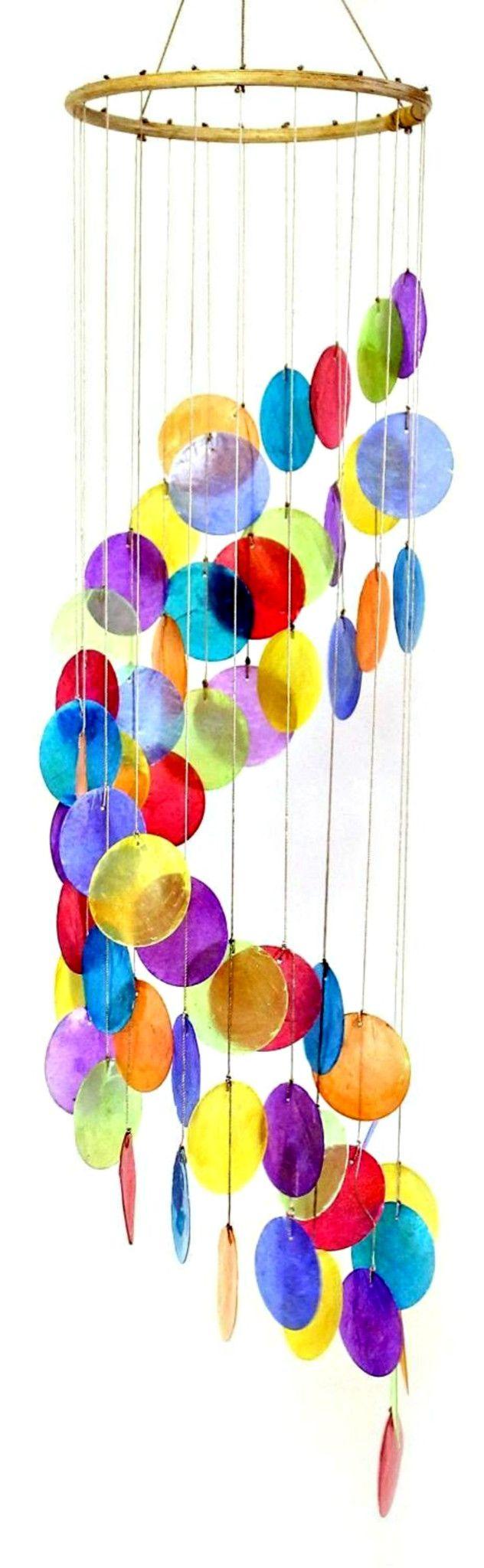 Rainbow Colored Spiral Capiz Chime Windchime Suncatcher
