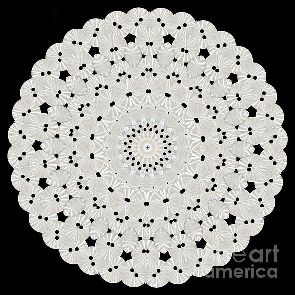 Kaleidoscope of white buttons by Becky Hayes, Photographer and Graphic Artist