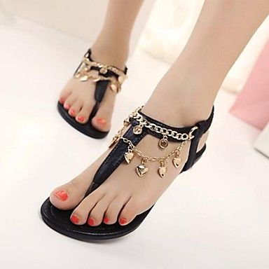 Shoes For Women Flat Heel Slingback Sandals Casual Black Gold