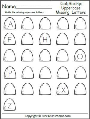 Free Missing Uppercase Letters Worksheet. Write the missing letters on the gumdrops.