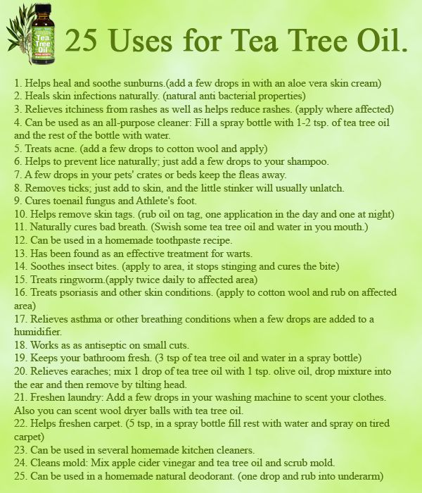 cedargrass: livin6lovin: wiccateachings: 25 uses for Tea Tree Oil. Tea tree oil, also known as Melaleuca alternifoliais, is an essential oil, it has such a diversity of usefulness that's both practical and convenient that you'll never want to live without it again! Removes ticks This info graphic literally covered everything. How could i possibly add more? Reblog! Everyone should know about the efficacy of Tea Tree Oil. Also, as usual… be very careful with essential oils as they are highly…