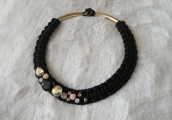 big black mackrame - necklace- with white and white crystals