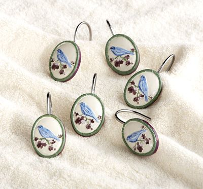 Botanical Bird Shower Curtain Hooks