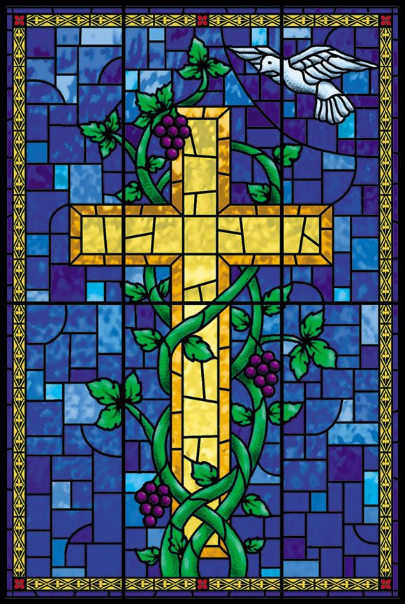 Stain Glass Cross With Grape Vines