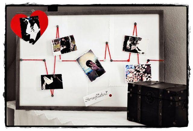 Herzfrequenzpinnwand:  Pinnwand weiß beziehen oder einfache weiße Blätter aufkleben, mit Stecknadeln einen roten Wollfaden als Herzrythmus drüber befestigen, Fertig!  Mit Büroklammern Bilder an der Linie befestigen oder mit Hilfe von Pinnwandnadeln!