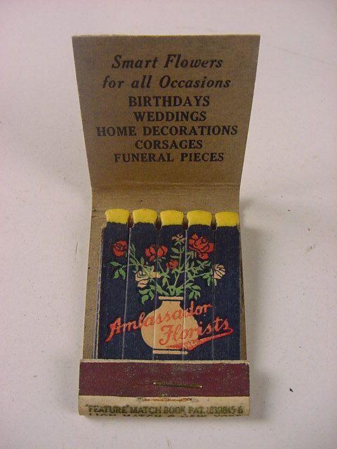 c.1940 VINTAGE FEATURE MATCHBOOK~AMBASSADOR FLORISTS~AMB. HOTEL, LA, CA