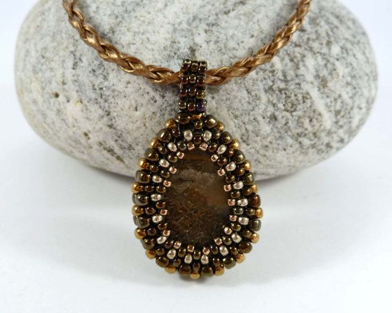Beaded Gemstone Pendant  Snakeskin Jasper by BeauBellaJewellery