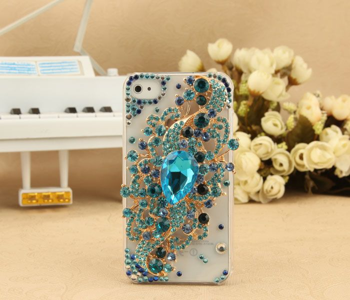 Cheap iPhone 4S 4G 3GS iPod Touch Blue Crystals Charm Clear Transparent Case on Sale