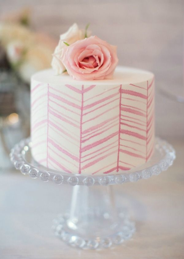 Painted cakes are becoming more and more popular.  I love that this one is so geometric and imperfect.