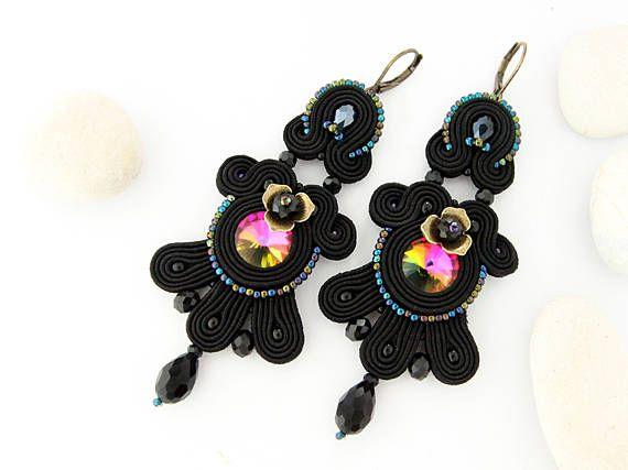 Black chandelier earrings soutache earrings large dangle