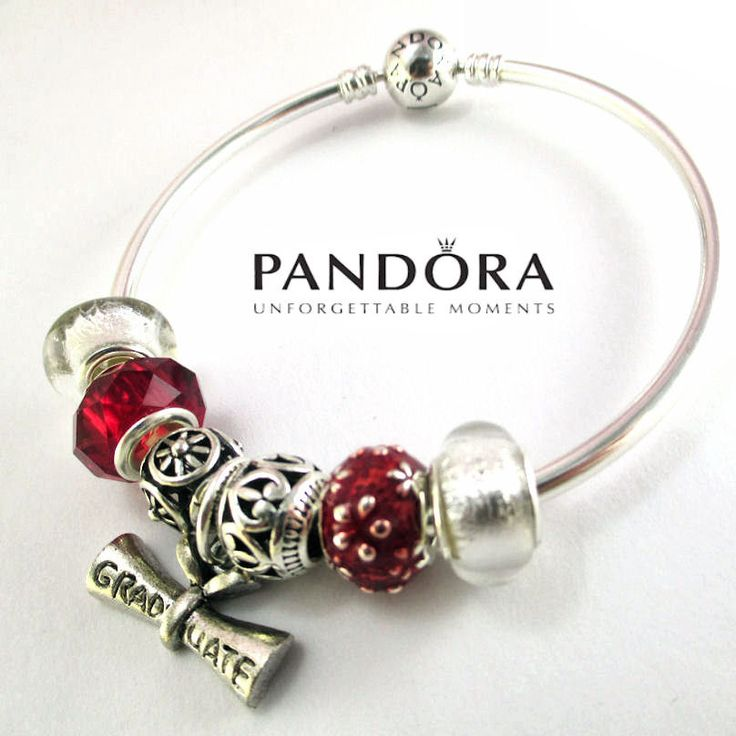 Authentic Pandora Bracelet, Pandora Bangle Bracelet, Graduation Bracelet, Sterling Silver, with Charms,Graduate Charm, WG1 by RobinsNestJewels on Etsy