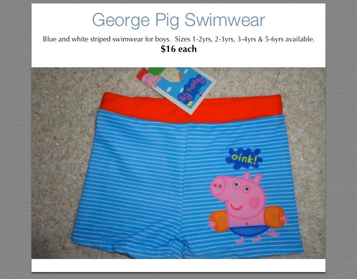 George Pig Swimmers.  Very cute indeed.