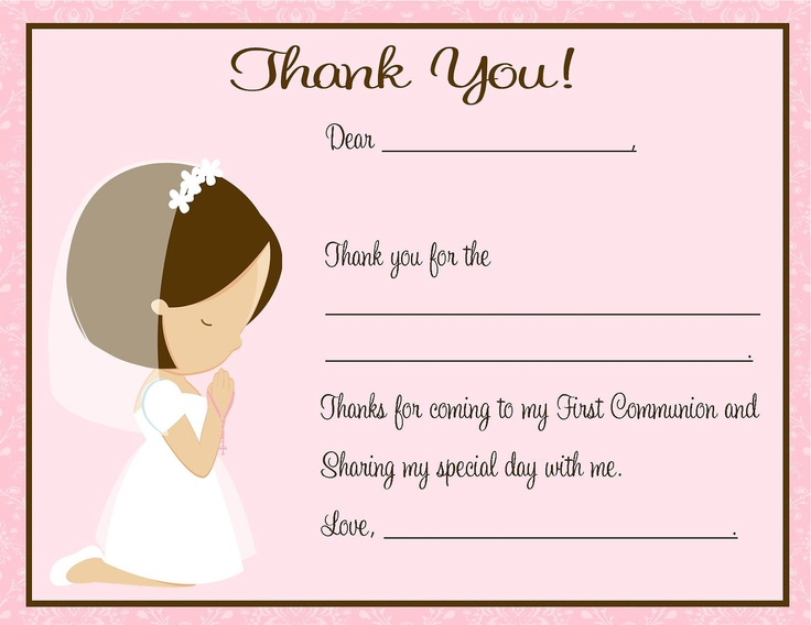 First Communion Thank You Card. $12.00, via Etsy.