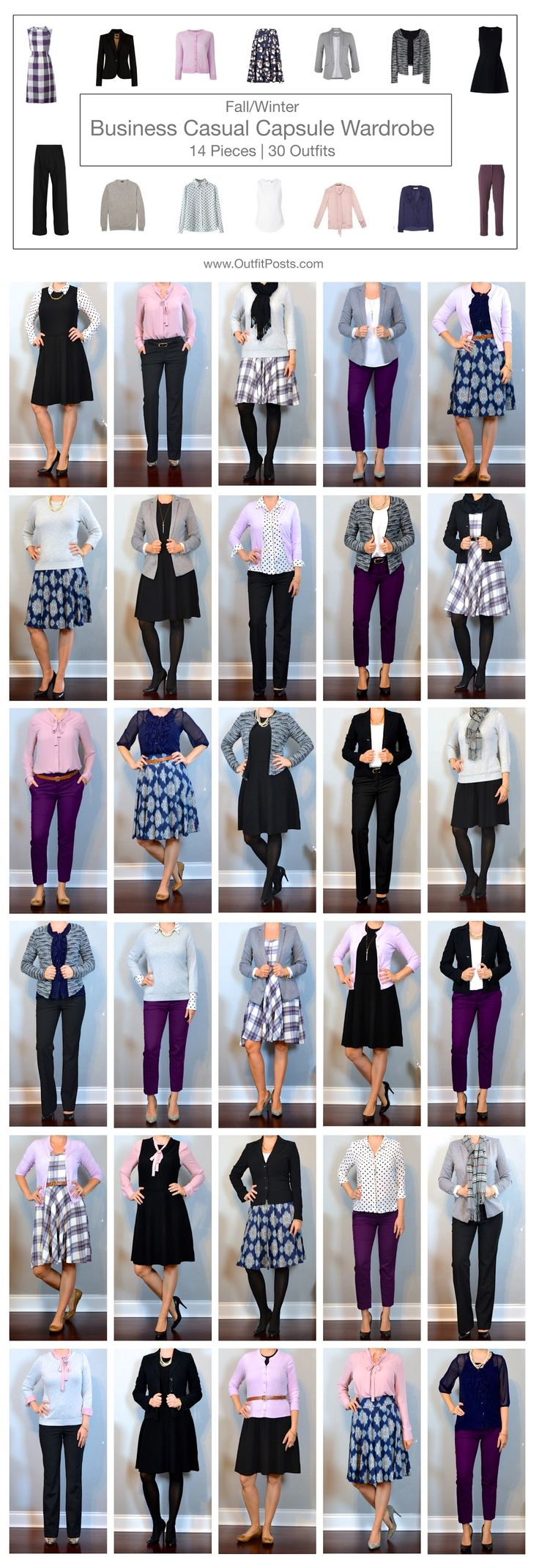 outfit post: fall/winter business casual capsule wardrobe - 14 pieces | 30 outfits