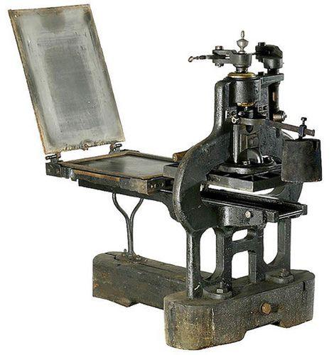 Pressa da stampa in ferro inventata da  CharlesStanhope, ca. 1800 #stampa #Ottocento