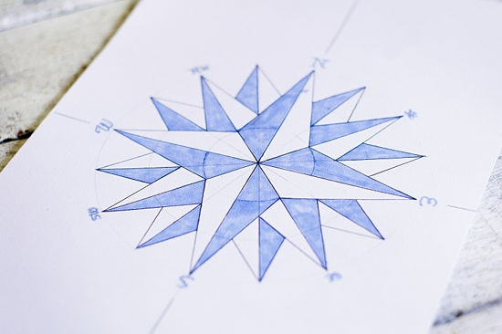 How to Draw a Compass Rose: 12 steps - wikiHow - yes I want to use this design for the quilting part, not the piecing.