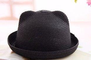 Cat Ears Straw Bowler Hat