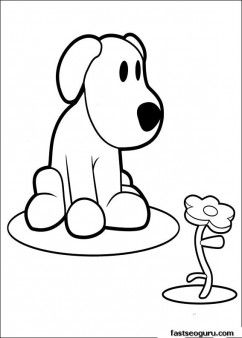 Printable coloring pages pocoyo Loula playing with flower - Printable Coloring Pages For Kids
