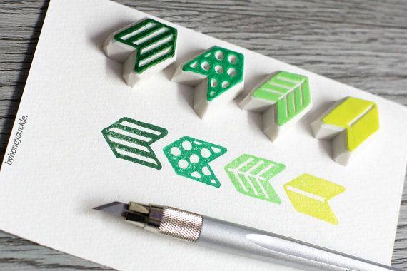geometric stamp arrow rubber stamp geometric by byhoneysuckle