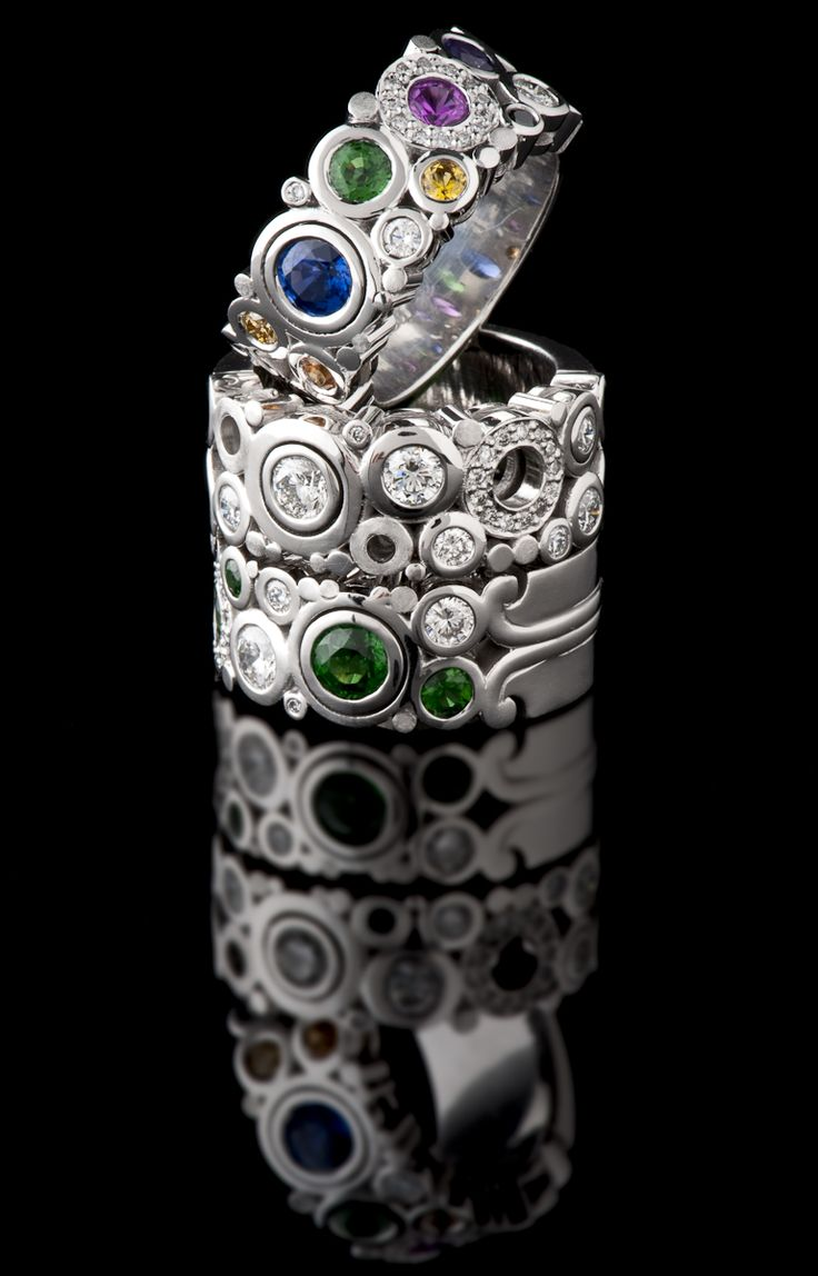 A stack of three 18ct white gold Carbonated Dress Rings. So hard to choose. #CaratsJewellery