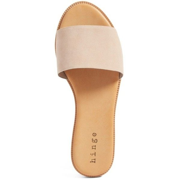 Women's Hinge 'Mere' Flat Slide Sandal ($60) ❤ liked on Polyvore featuring shoes, sandals, slide sandals, flat footwear, flat shoes, hinge shoes and light weight shoes