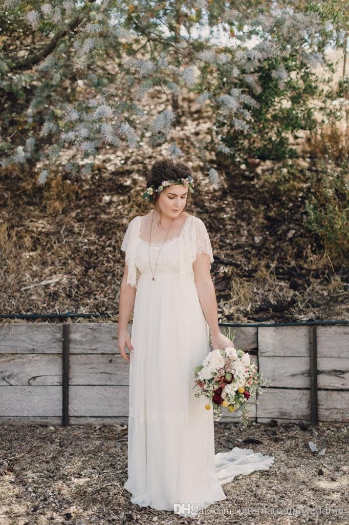 Plus Size Wedding Dresses2016 Sleeves Lace Country A Line Scoop Long Backless Romantic Bohemian Wedding Dress Fitted A Line Wedding Dress Gown Wedding Dresses From Internationalwedding, $103.1| Dhgate.Com
