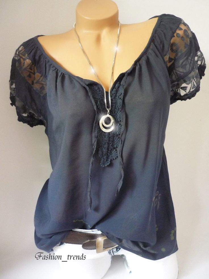 Italy Vintage Blumen Bluse Häkel Spitze Shirt Top Tunika Geblümt*Marine*38 40 42…