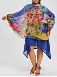 $14.26--Asymmetric Printed Chiffon Plus Size Dress