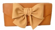 Pink Tulips Caramel Leather Clutch with Bone Leather Bow