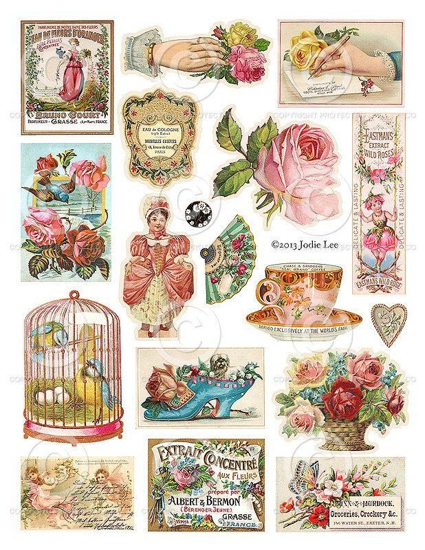 Stampabile Vintage scrap foglio Collage digitale come File